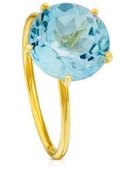 Tous Ivette Ring In Gold With Topaz 11/20 - Blue