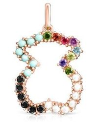 Tous - Straight Bear Pendant In Rose Silver Vermeil With Gemstones - Lyst