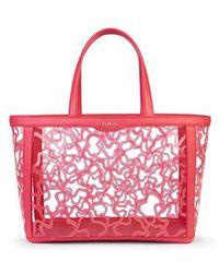 Tous Medium Coral Colored Vinyl Kaos Shock Tote Bag