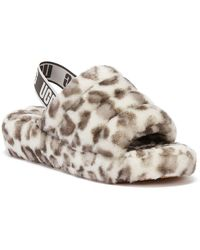 UGG UGG Fluff Yeah Leopard Womens White Slippers