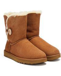 UGG Womens Chestnut Bailey Button Ii Sheepskin Boots - Brown
