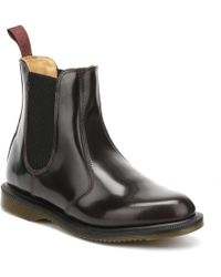 Dr. Martens Dr. Martens Flora Arcadia Womens Burgundy Leather Boots - Black