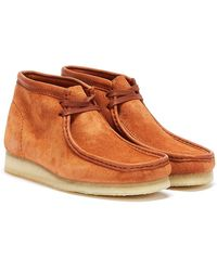 Clarks Wallabee Hairy Suede Mens Tan Boots - Brown