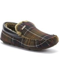 Barbour Monty Tartan Mens Classic Brown Moccasin Slippers
