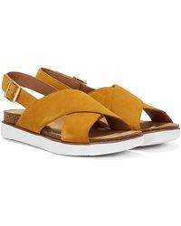 Clarks Elayne Cross Suede Ochre Sandals - Yellow