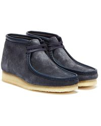 Clarks Wallabee Hairy Suede Mens Navy Boots - Blue