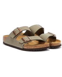 Birkenstock Arizona Birko Flor Nubuck Stone Sandals - Grey