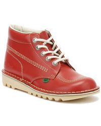 Kickers Womens Red Leather Kick Hi Boots
