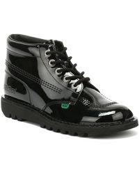 Kickers Kick Hi Womens Black Patent Boots