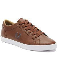 Fred Perry Baseline Leather Trainers In Tan - Brown
