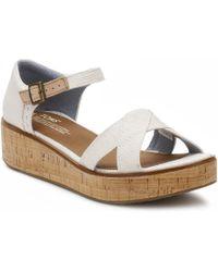 TOMS - Womens Natural Yarn Dye Harper Platform Wedge Sandals - Lyst