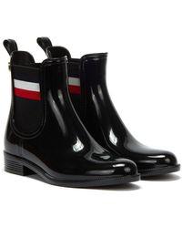 Tommy Hilfiger Corporate Ribbon Rainboot Wellies - Black