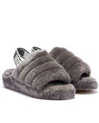 UGG Fluff Yeah Slide Sandalen für aus Schaffell - Grau