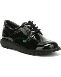 Kickers Kick Lo Black Patent Shoes