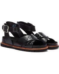 Clarks Orianna Cross Combi Leather Sandals - Black