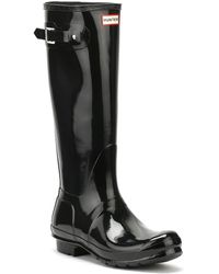 HUNTER Original Womens Gloss Tall Black Rubber Wellington Boots