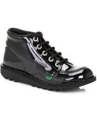 Kickers - Kick Hi Womens Black Patent Boots - Lyst