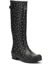 Joules - Womens Black Raindrops Welly Print Wellies - Lyst