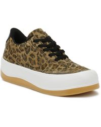 TOWER London Hoxton Leopard Trainers - Brown