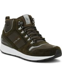 Ralph Lauren - Mens Deep Olive Green Train 100 Mid Trainers - Lyst