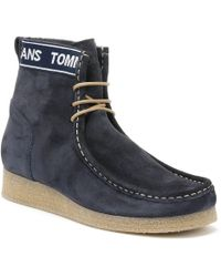 Tommy Hilfiger - Jeans Crepe Outsole Wallaby Mens Navy Boots - Lyst