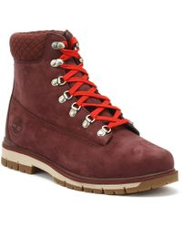 Timberland Mens Burgundy Radford 6 Inch D-rings Boots - Red