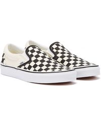 Vans Classic Slip-on Black / Checkerboard Canvas Sneakers - White