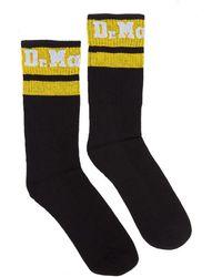 Dr. Martens Dr. Martens Athletic Logo Cotton Blend Black / Yellow Socks