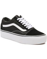 Vans Old Skool Platform / White Sneakers - Black