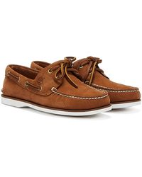 Timberland Classic Boat Nubuck Mens Rust Shoes - Brown