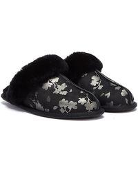 UGG Scuffette Ii Floral Foil Slippers - Black