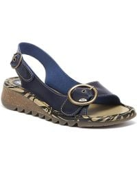 Fly London Tram Leather Slingback Wedge Sandals - Blue