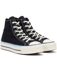 Converse Chuck Taylors All Stars Lift Hi / Blue / Egret Trainers - Black