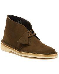 Clarks Desert Mens Dark Olive Suede Boots - Grey