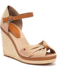 Tommy Hilfiger Iconic Elena Womens Beige Wedge Sandals - Natural