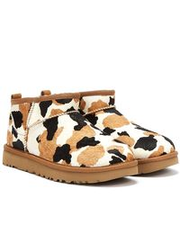 UGG Classic Ultra Mini Cow Print Chestnut Boots - Brown