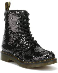 Dr. Martens - Dr. Martens 1460 Pascal Sequin Womens Black / Silver Boots - Lyst