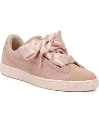san francisco b7164 17171 Womens Peach / Pearl Heart Pebble Suede Trainers