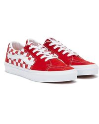 Vans Sk8-Lo Checkerboard Baskets Rouge / Blanc Pour