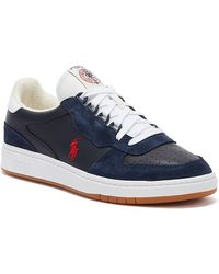 Ralph Lauren Polo Court Mens Navy / Red Trainers - Blue