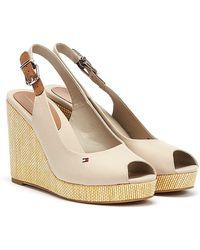 Tommy Hilfiger Iconic Elena Sling Back Beige Wedge Sandals - Natural
