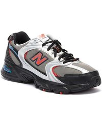 New Balance 530 Mens Grey / Black / Red Sneakers