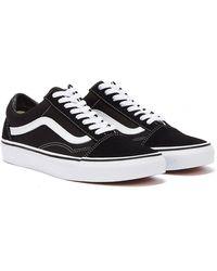 Vans Old Skool / White Canvas Trainers - Black