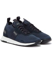 BOSS by Hugo Boss Titanium Runn Mens Navy Sneakers - Blue