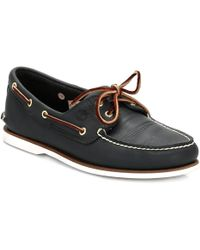 Timberland Classic Mens Navy Leather Boat Shoes - Blue