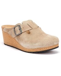 Birkenstock Fanny Suede Womens Taupe Wedge Sandals - Multicolor