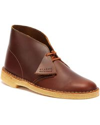 Clarks Desert Mens Tan Leather Boots - Brown