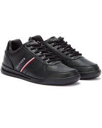 Tommy Hilfiger Lightweight Leather Mix Baskets Noires Pour