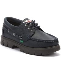 Kickers Lennon Mens Navy Leather Boat Shoes - Blue
