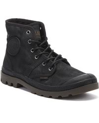 Palladium Pallabrouse Waxed Canvas Mens Black Boots